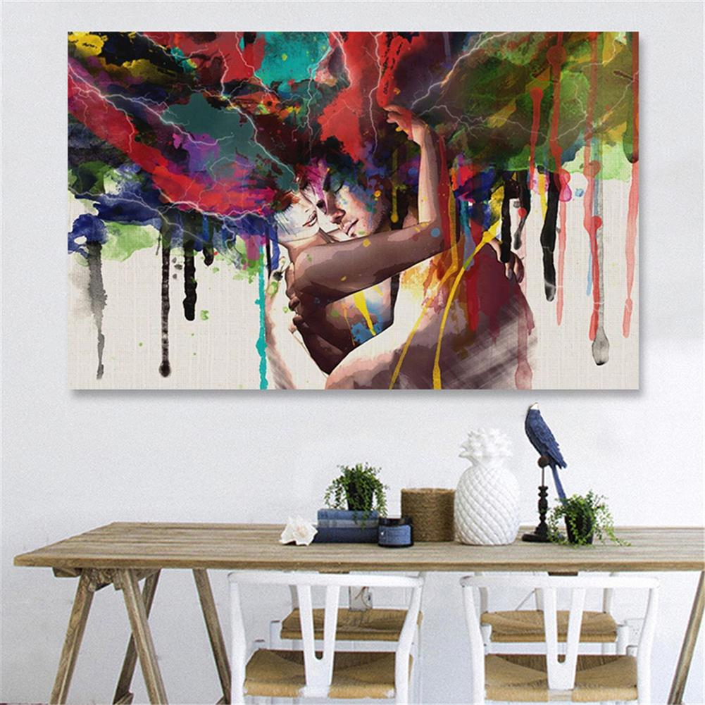 other-learning-office-supplies 30*45cm Canvas Painting Room Wall Abstract Color Couple Art Hanging Pictures Home Decoration Framed/Frameless HOB1776153 1 1