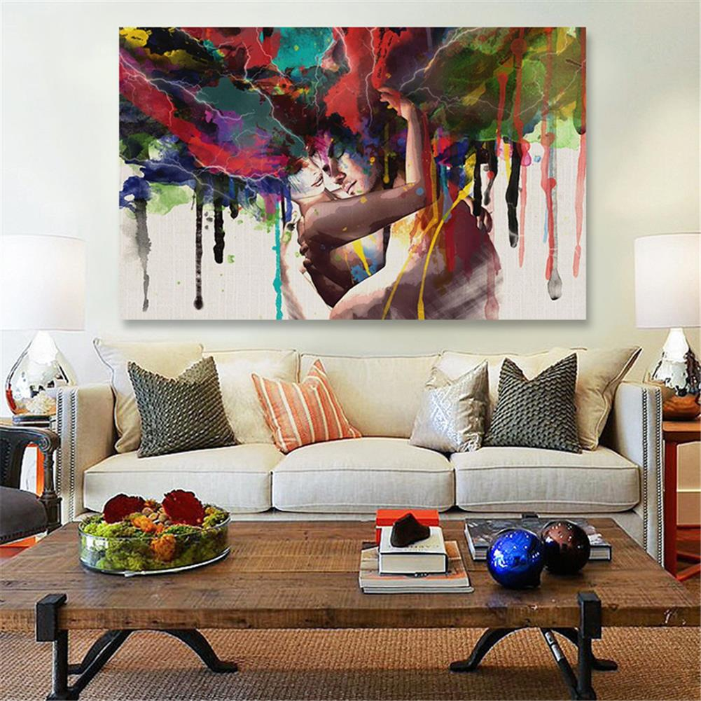 other-learning-office-supplies 30*45cm Canvas Painting Room Wall Abstract Color Couple Art Hanging Pictures Home Decoration Framed/Frameless HOB1776153 2 1