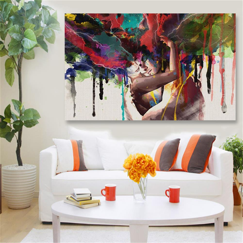 other-learning-office-supplies 30*45cm Canvas Painting Room Wall Abstract Color Couple Art Hanging Pictures Home Decoration Framed/Frameless HOB1776153 3 1