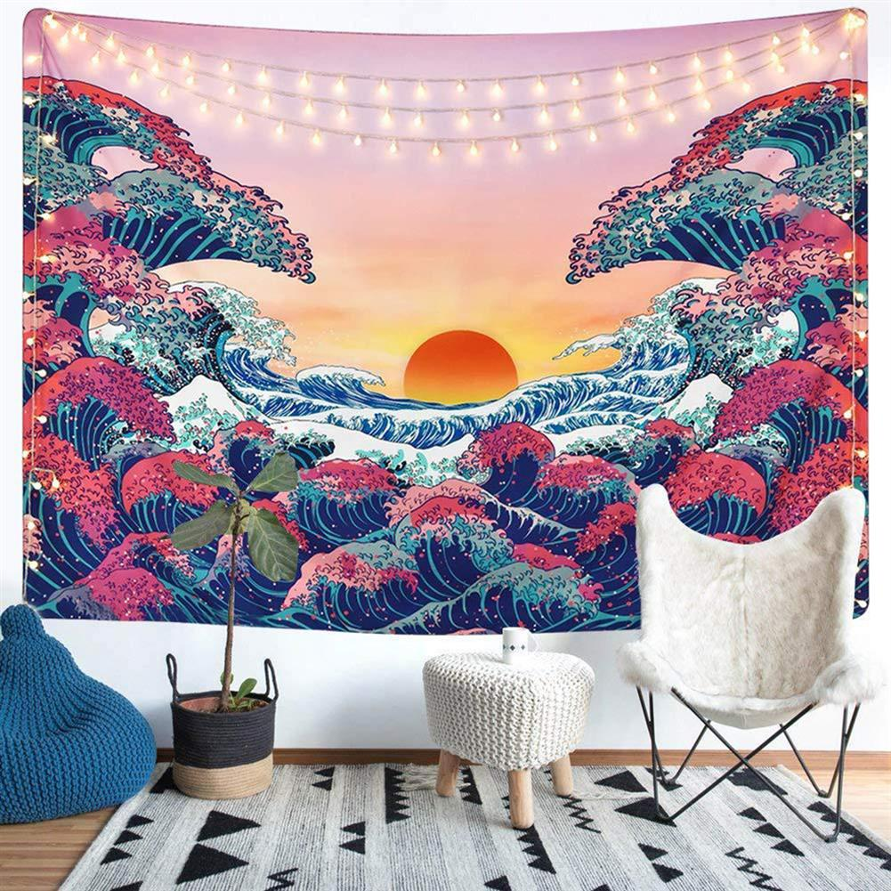 other-learning-office-supplies 3D Great Wave Sea Wall Hanging Blanket Home Decoration Big Polyester Ocean Wave Sunset Tapestry Living Room Ornament HOB1776631 3 1