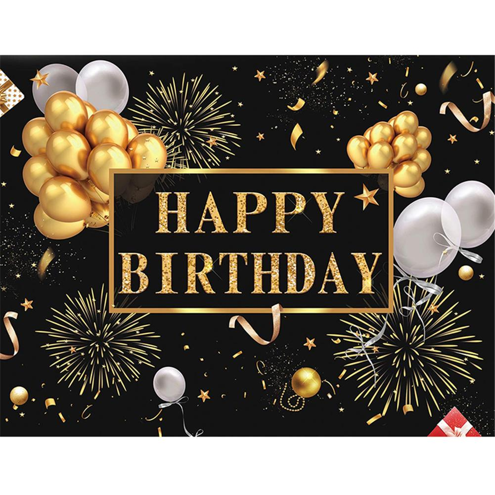 other-learning-office-supplies Black and Gold Balloons Happy Birthday Backdrop Golden Glittering Sparkling Stars Men Women 30th 40th 50th 60th Bday Party Decorations Background Photo Booth Banner HOB1776669 1