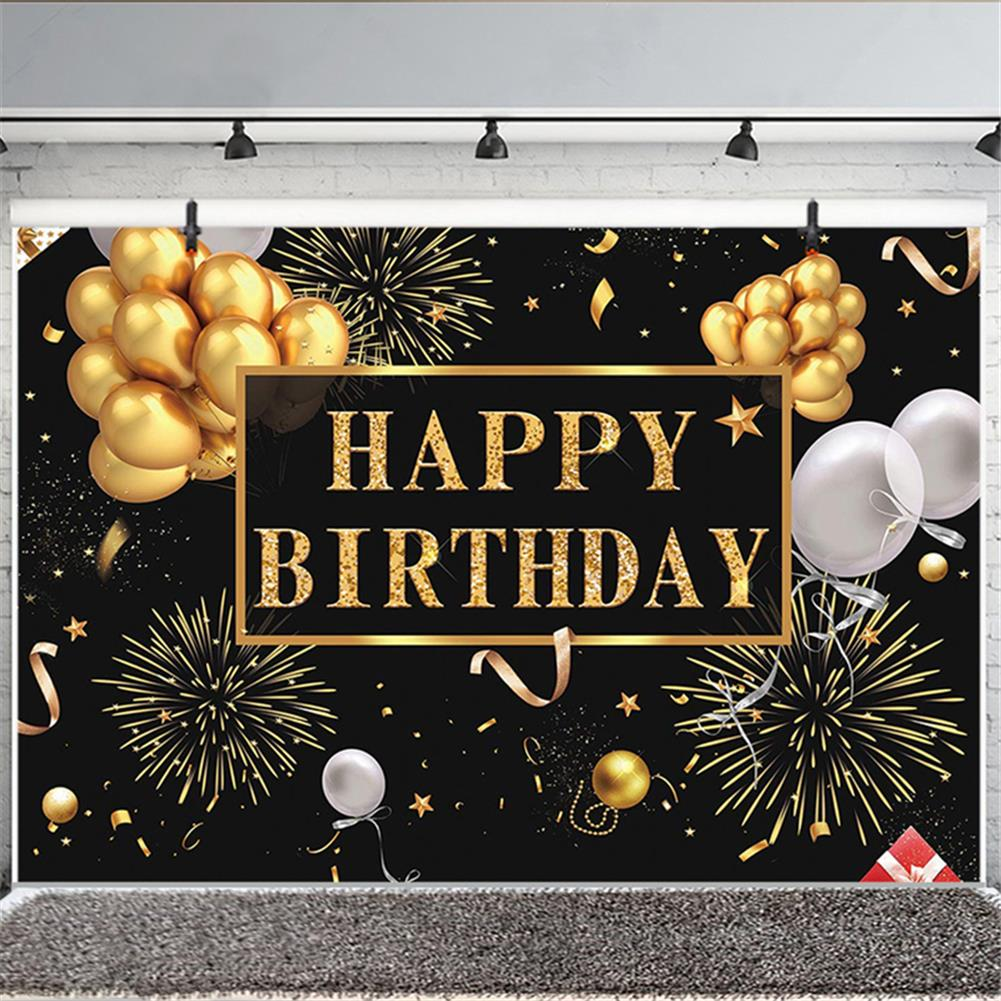 other-learning-office-supplies Black and Gold Balloons Happy Birthday Backdrop Golden Glittering Sparkling Stars Men Women 30th 40th 50th 60th Bday Party Decorations Background Photo Booth Banner HOB1776669 1 1