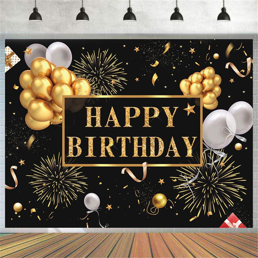 other-learning-office-supplies Black and Gold Balloons Happy Birthday Backdrop Golden Glittering Sparkling Stars Men Women 30th 40th 50th 60th Bday Party Decorations Background Photo Booth Banner HOB1776669 2 1