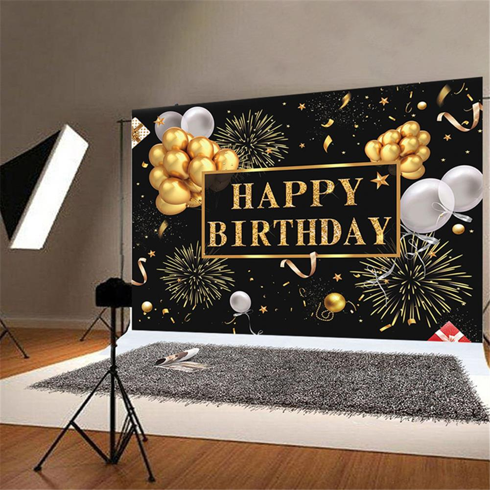 other-learning-office-supplies Black and Gold Balloons Happy Birthday Backdrop Golden Glittering Sparkling Stars Men Women 30th 40th 50th 60th Bday Party Decorations Background Photo Booth Banner HOB1776669 3 1