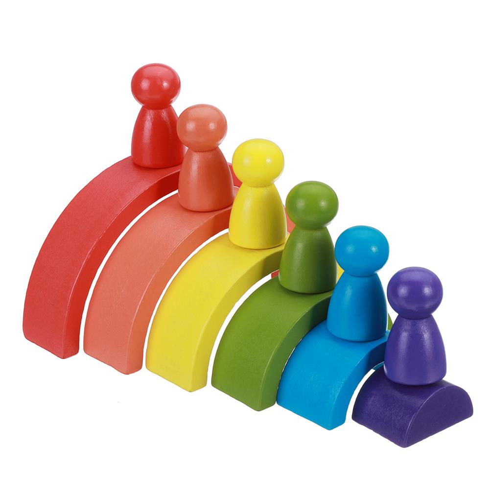 other-learning-office-supplies Rainbow Arched Building Block Combination Wooden Children's Educational Colorful Semicircle Building Block for Children Toy Gift HOB1777311 1