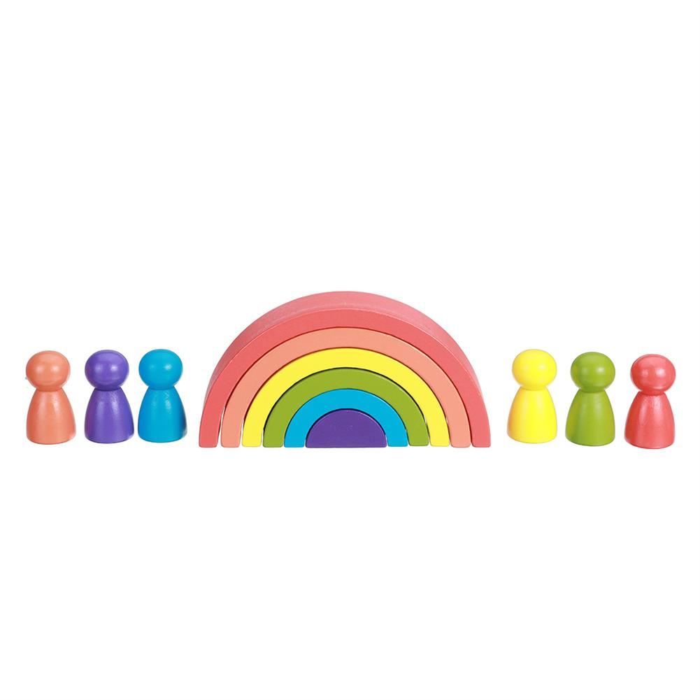 other-learning-office-supplies Rainbow Arched Building Block Combination Wooden Children's Educational Colorful Semicircle Building Block for Children Toy Gift HOB1777311 3 1
