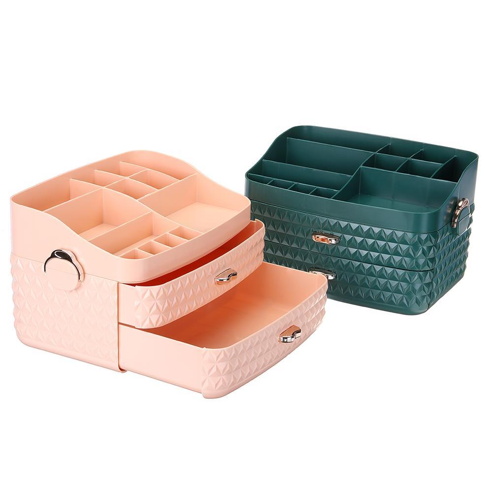 desktop-off-surface-shelves Dustproof Cosmetic Storage Box with Drawer Large Capacity Desktop Furnishings Organizer Home Desk Sundries Storage HOB1777438 1 1