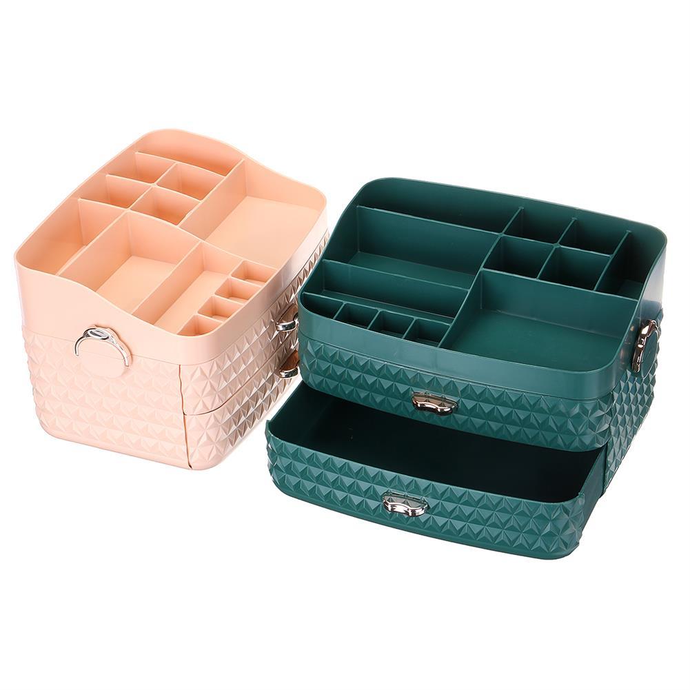 desktop-off-surface-shelves Dustproof Cosmetic Storage Box with Drawer Large Capacity Desktop Furnishings Organizer Home Desk Sundries Storage HOB1777438 2 1