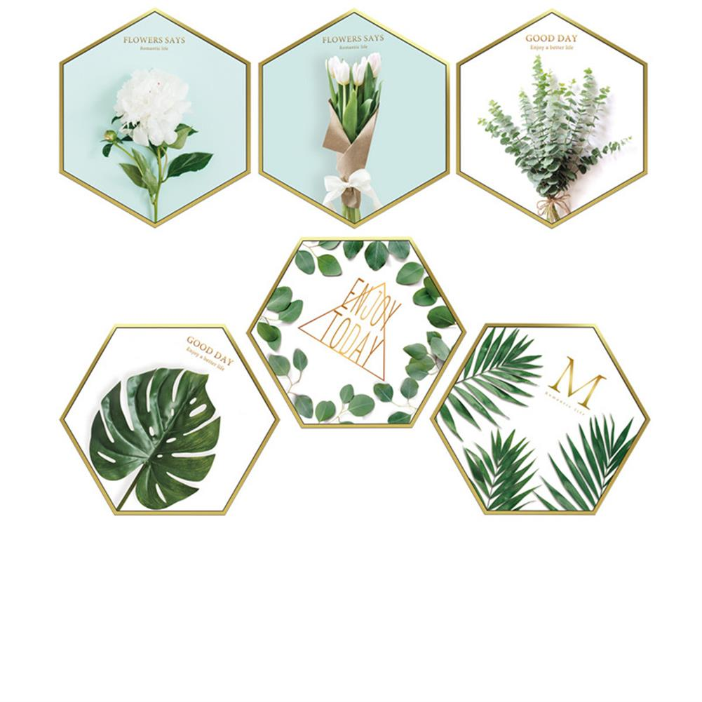 other-learning-office-supplies 6Pcs Wall Sticker Set Nordic Style Plant Pattern Hexagon Shape Wall Sticker Home Bedroom Living Room Decoration HOB1777851 1