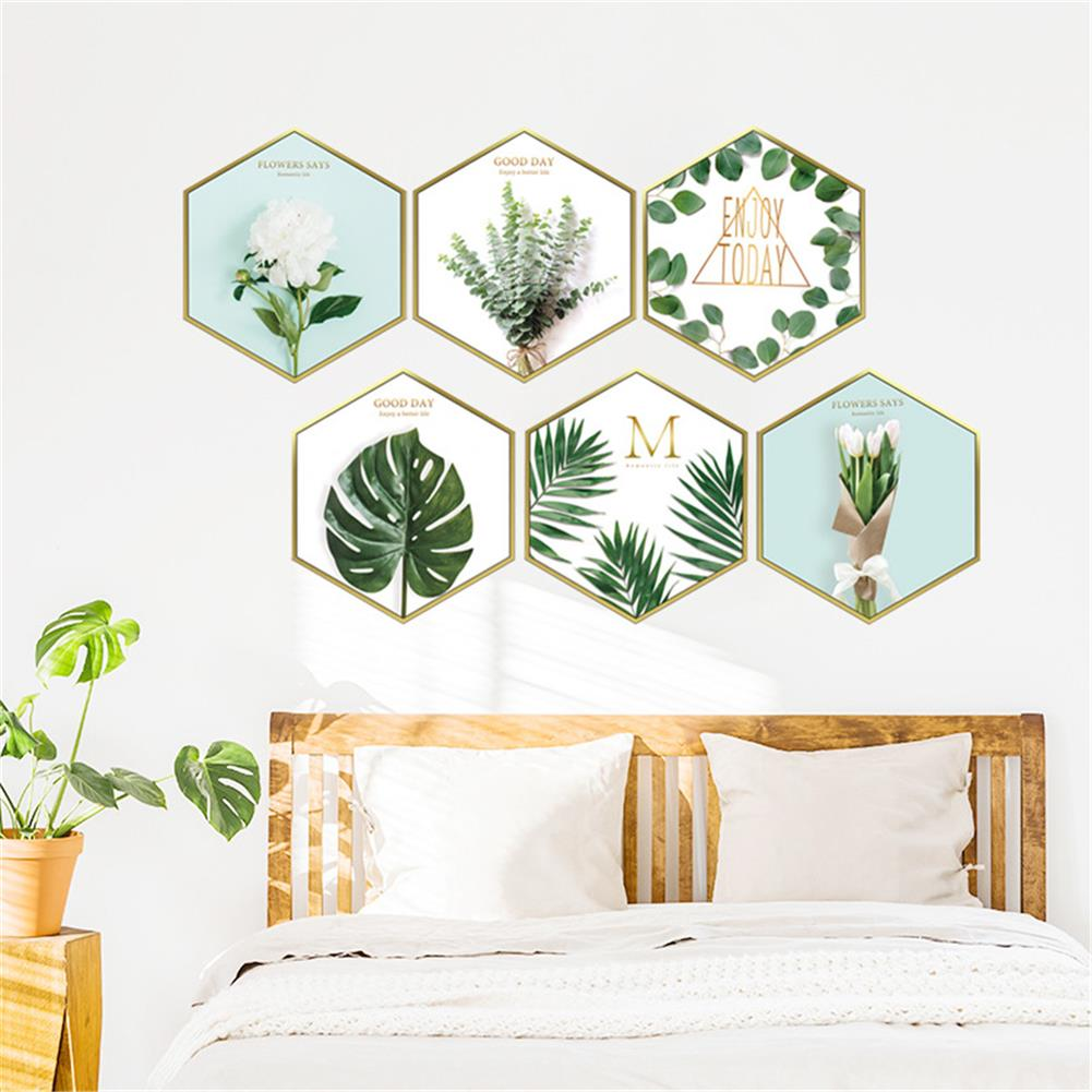 other-learning-office-supplies 6Pcs Wall Sticker Set Nordic Style Plant Pattern Hexagon Shape Wall Sticker Home Bedroom Living Room Decoration HOB1777851 1 1
