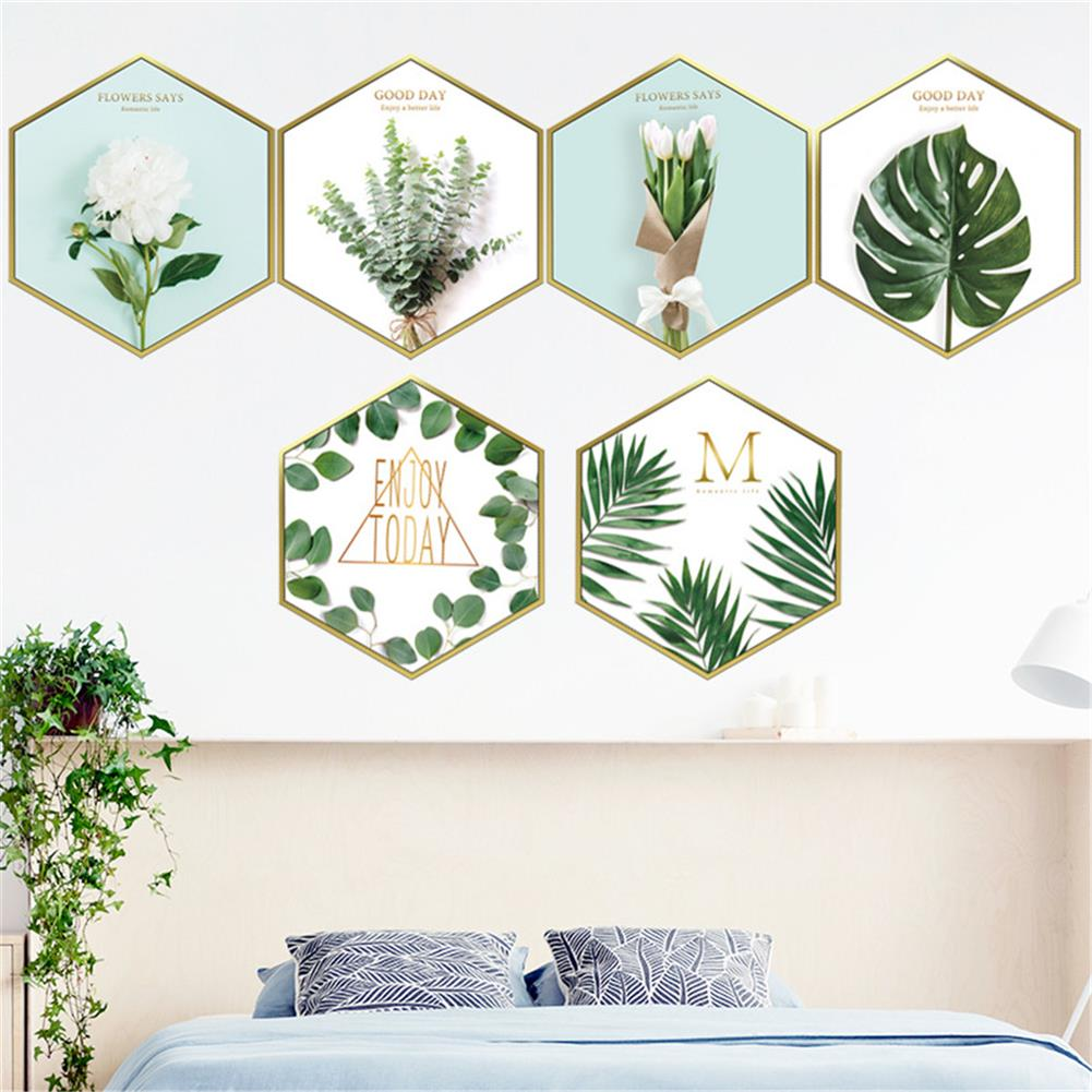 other-learning-office-supplies 6Pcs Wall Sticker Set Nordic Style Plant Pattern Hexagon Shape Wall Sticker Home Bedroom Living Room Decoration HOB1777851 2 1