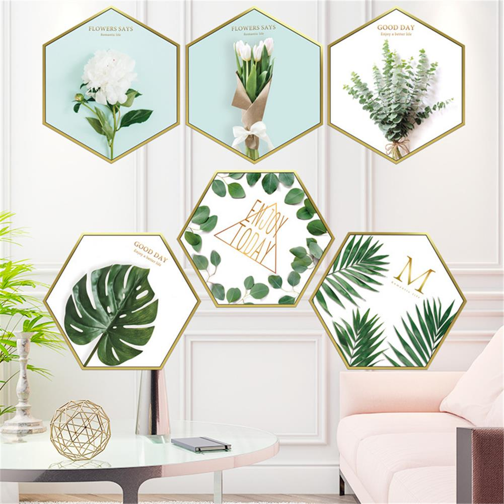 other-learning-office-supplies 6Pcs Wall Sticker Set Nordic Style Plant Pattern Hexagon Shape Wall Sticker Home Bedroom Living Room Decoration HOB1777851 3 1