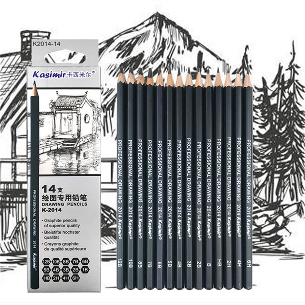 pencil Kasimir 14pcs/set Sketch Pencil Set 1B/2B/3B/4B/5B/6B/7B/8B/10B/12B/HB/2H/4H/6H Wooden Painting Pencil for Beginner Drawing HOB1778497 1