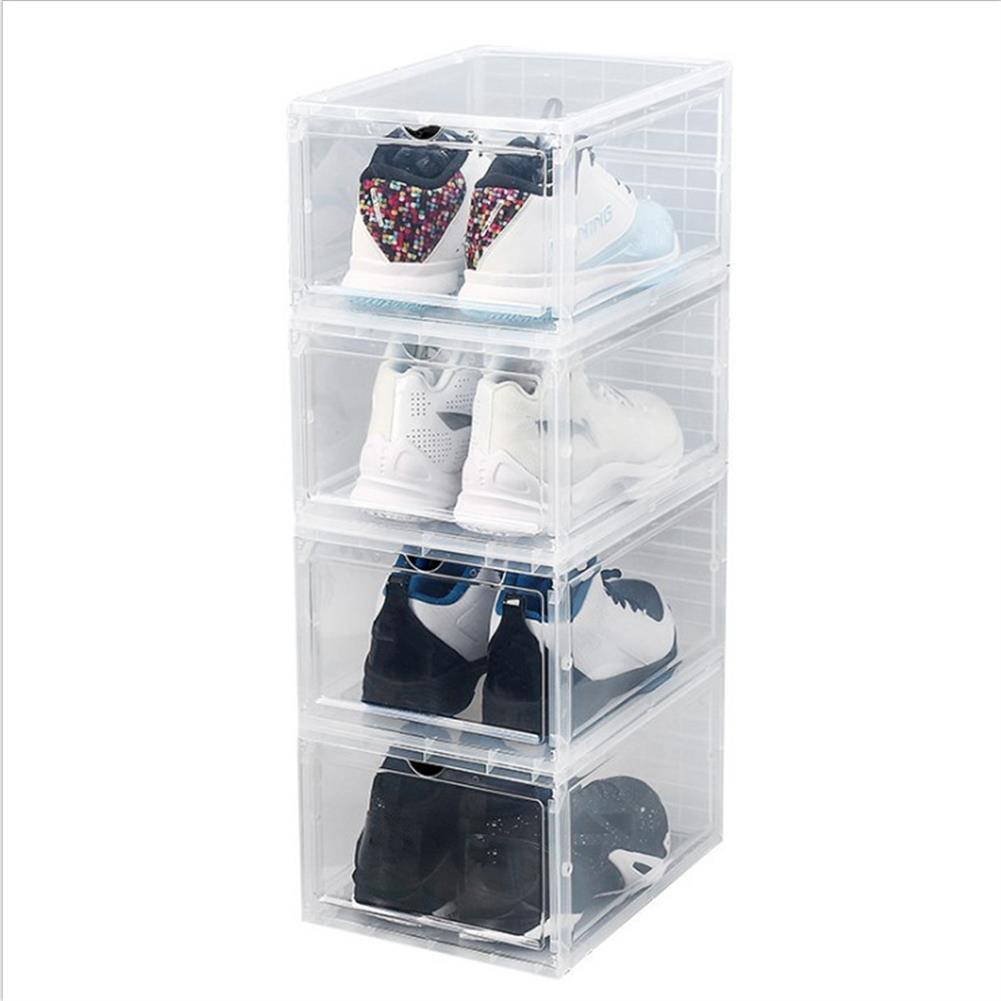 desktop-off-surface-shelves 1 Piece Plastic Shoe Box Thicken PP Transparent Filp Cover Shoes Storage Racks Stackable Organizer Drawer Sneaker Shoe Case HOB1778571 1