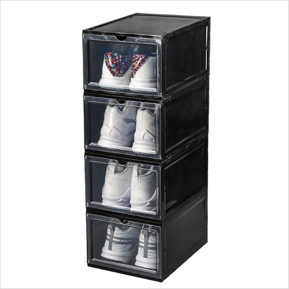 desktop-off-surface-shelves 1 Piece Plastic Shoe Box Thicken PP Transparent Filp Cover Shoes Storage Racks Stackable Organizer Drawer Sneaker Shoe Case HOB1778571 1 1