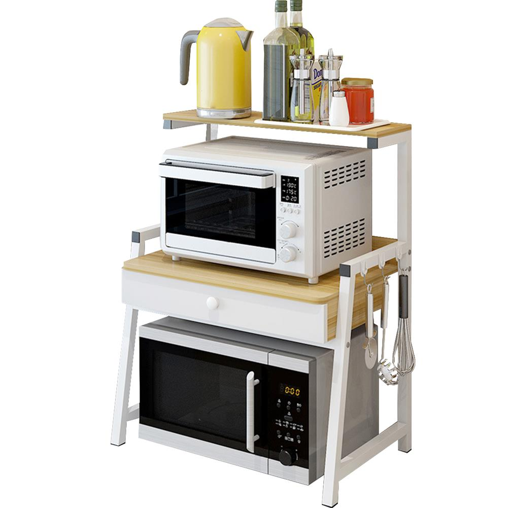 desktop-off-surface-shelves 2 Tiers Microwave Oven Rack Stand Storage Shelf Kitchen Storage Bracket Space Saving Kitchen Organizer with Drawer & Hooks HOB1778891 1