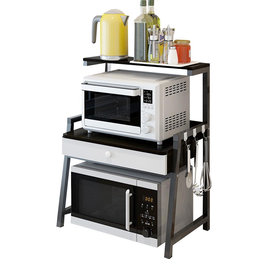 desktop-off-surface-shelves 2 Tiers Microwave Oven Rack Stand Storage Shelf Kitchen Storage Bracket Space Saving Kitchen Organizer with Drawer & Hooks HOB1778891 1 1