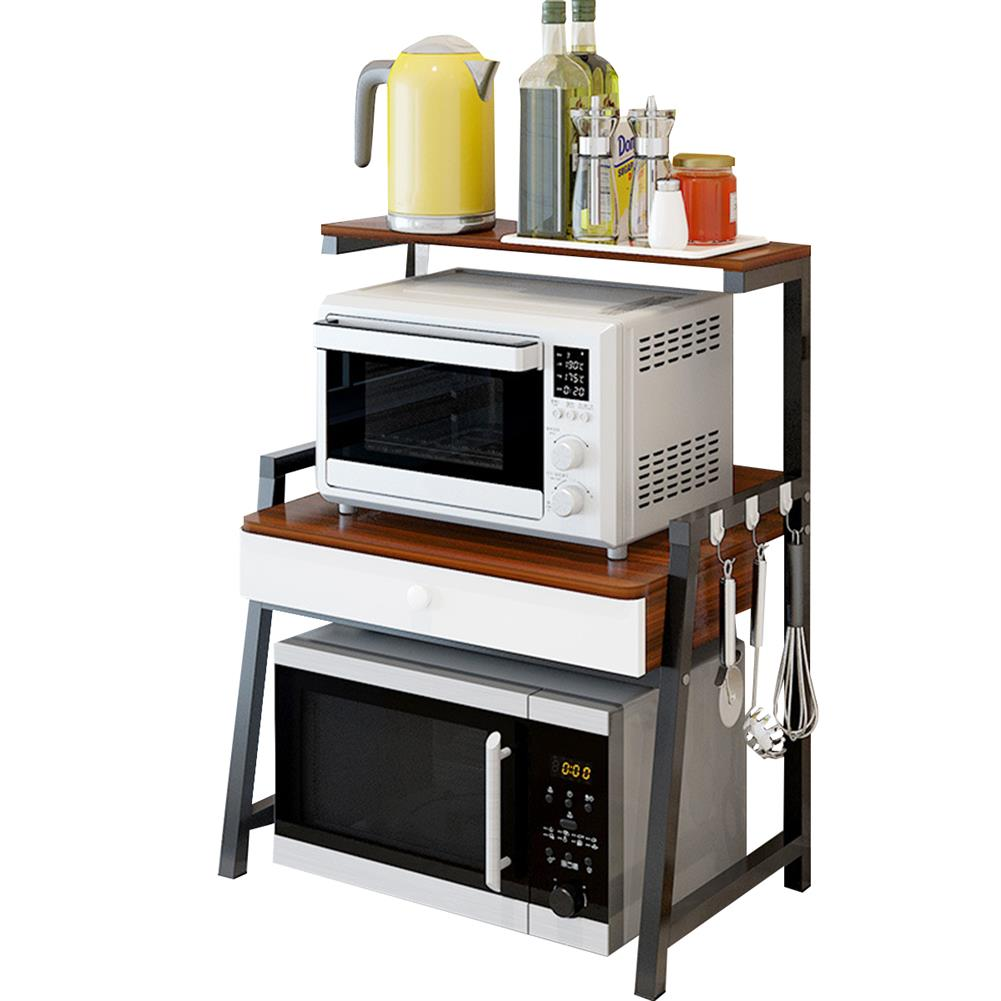 desktop-off-surface-shelves 2 Tiers Microwave Oven Rack Stand Storage Shelf Kitchen Storage Bracket Space Saving Kitchen Organizer with Drawer & Hooks HOB1778891 2 1