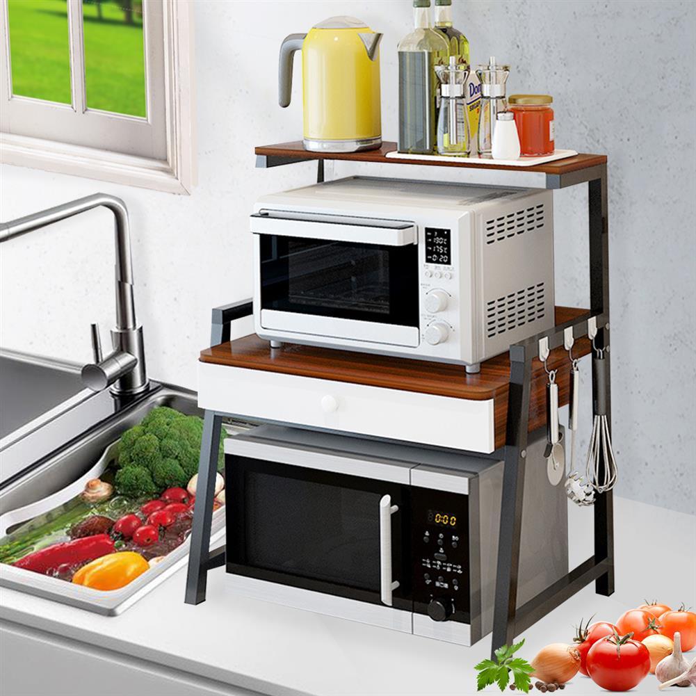 desktop-off-surface-shelves 2 Tiers Microwave Oven Rack Stand Storage Shelf Kitchen Storage Bracket Space Saving Kitchen Organizer with Drawer & Hooks HOB1778891 3 1