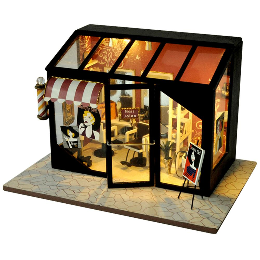 other-learning-office-supplies DIY Doll House Miniature Set Ppaer Dollhouse Furniture LED Lights Nail Salon Hair Salon Clothing Shop House for Children Gifts HOB1779371 1