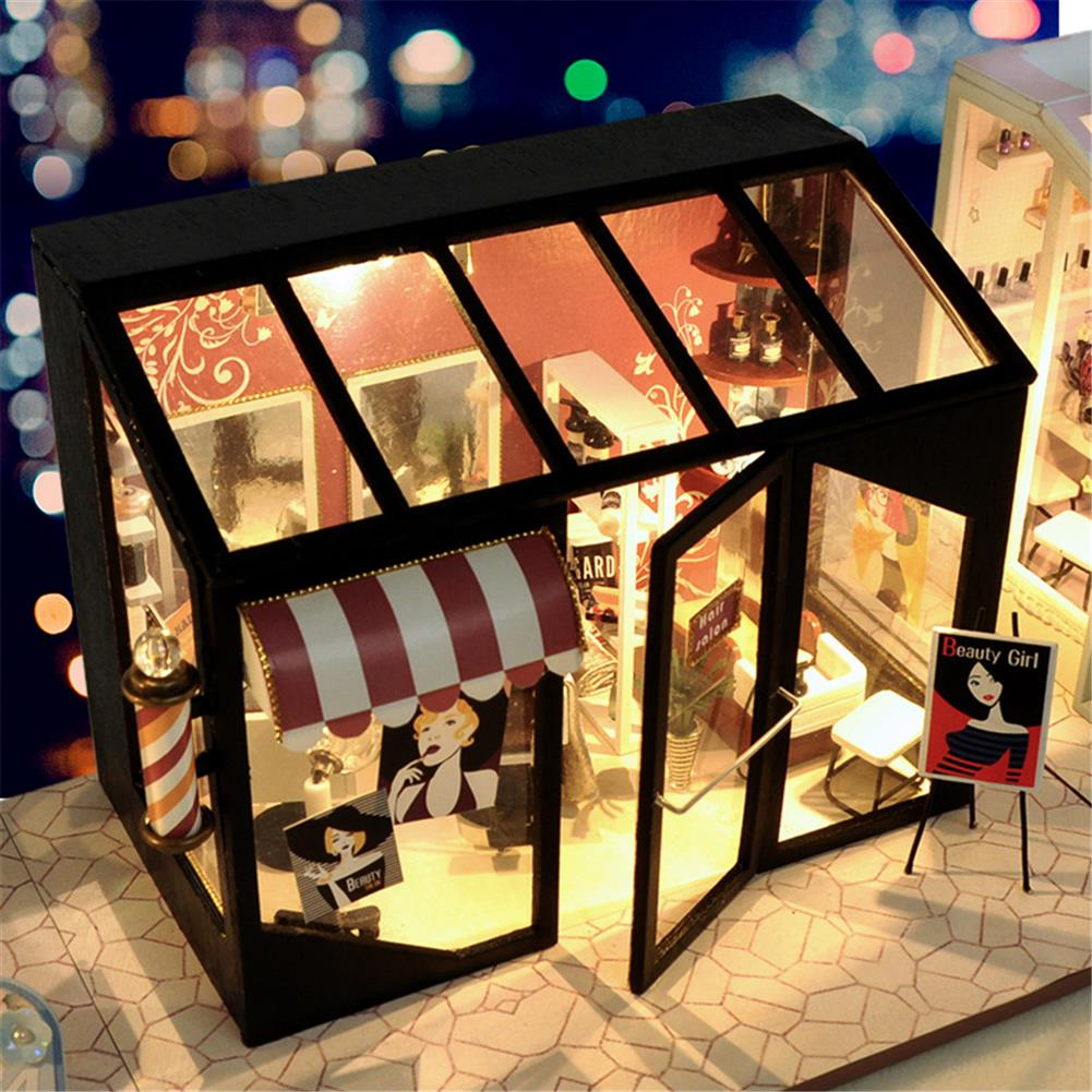 other-learning-office-supplies DIY Doll House Miniature Set Ppaer Dollhouse Furniture LED Lights Nail Salon Hair Salon Clothing Shop House for Children Gifts HOB1779371 1 1