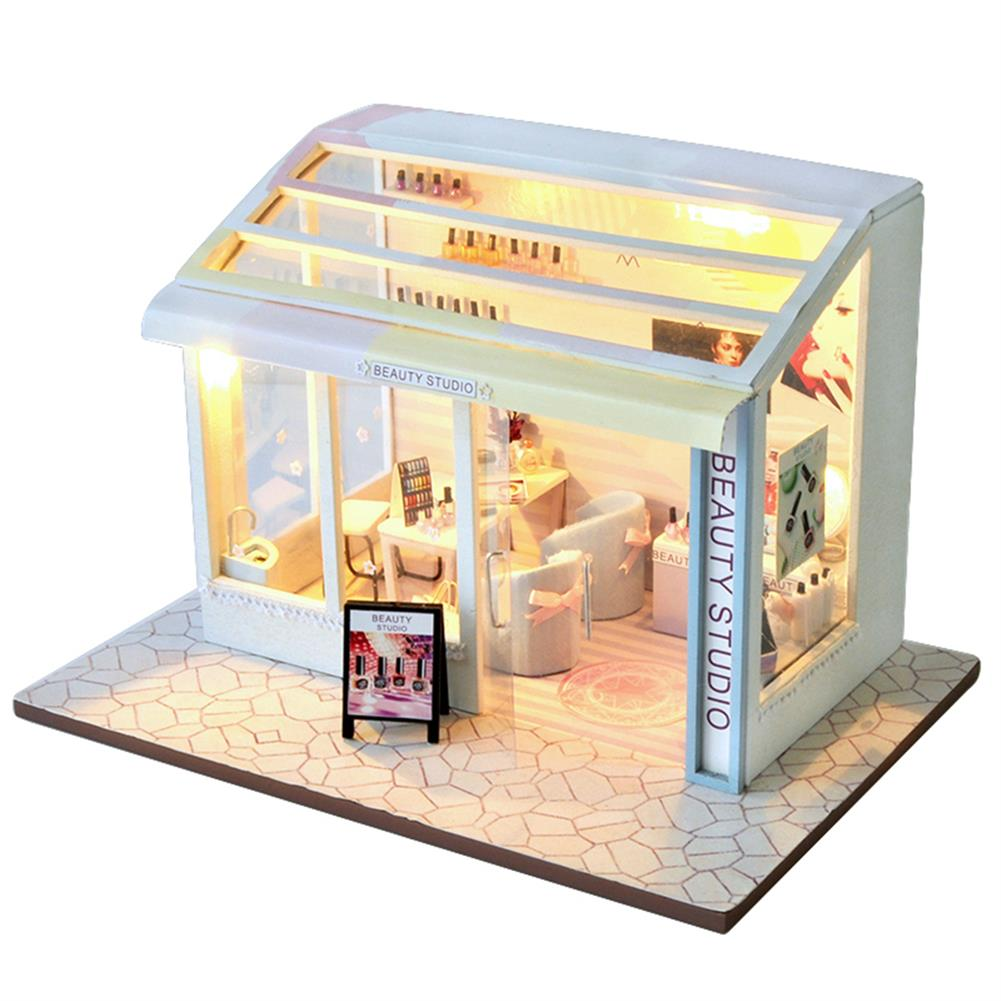 other-learning-office-supplies DIY Doll House Miniature Set Ppaer Dollhouse Furniture LED Lights Nail Salon Hair Salon Clothing Shop House for Children Gifts HOB1779371 2 1