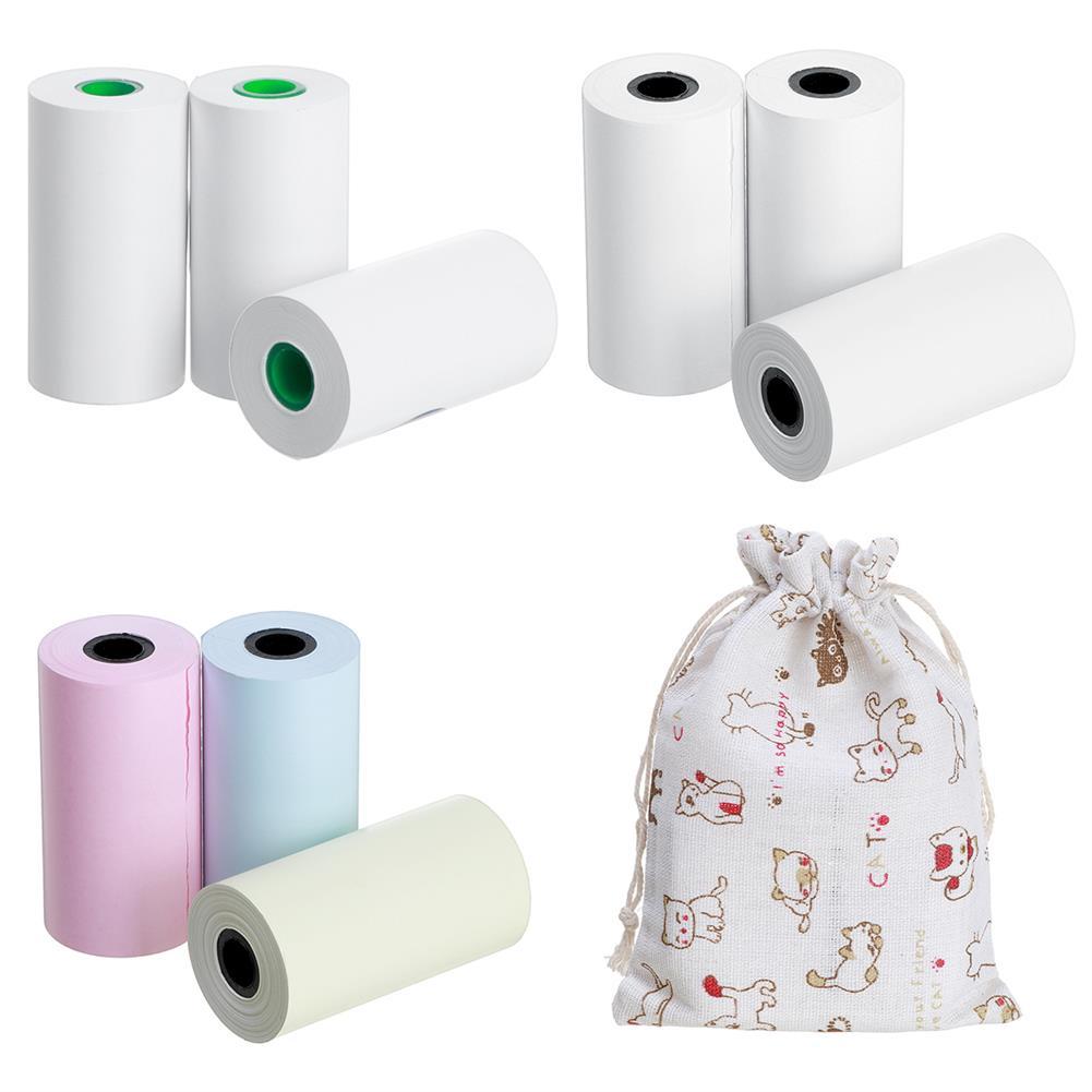 thermal-fax-paper 3 Rolls thermal Paper Self-Adhesive Printer Paper 3-Color thermal Paper Printing Paper Printer Protective Bag for thermal Photo Printer HOB1779511 1