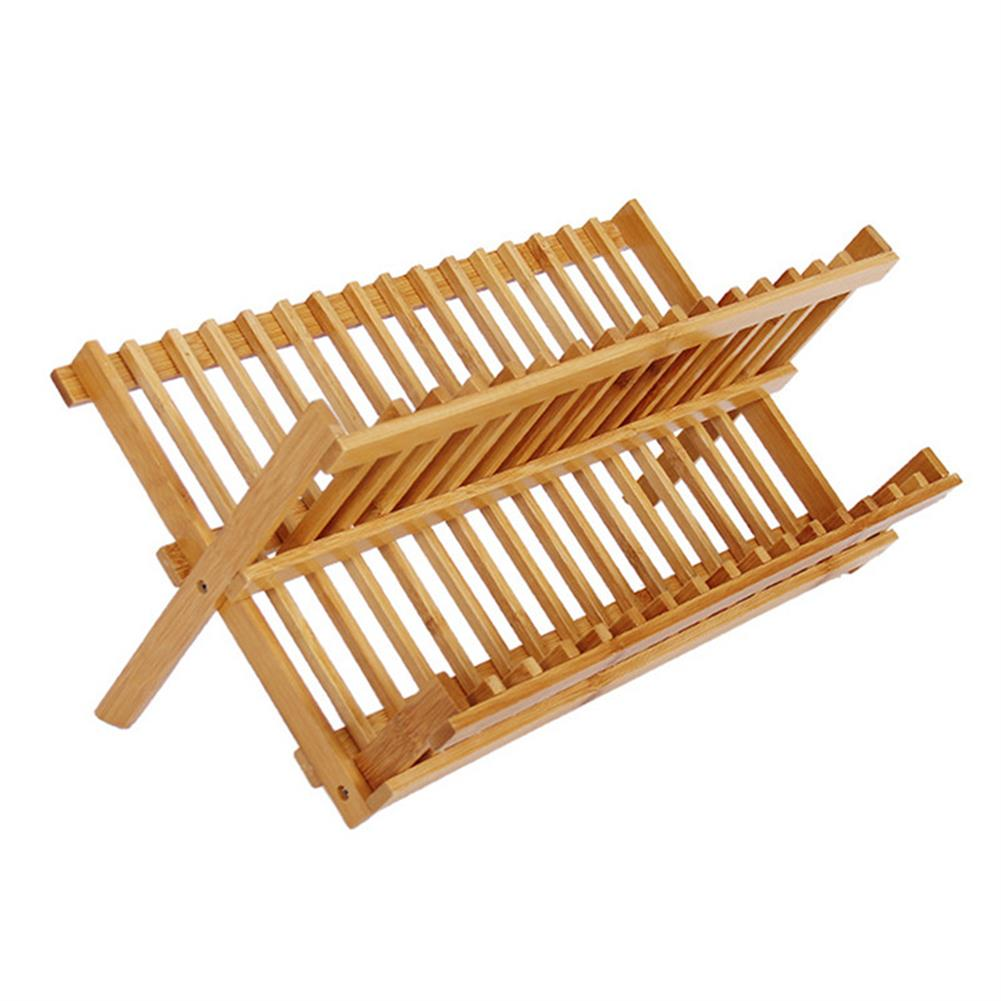 desktop-off-surface-shelves 16 Grid Folding Dish Rack Double Layers Bamboo Drainer Drying Rack Home Kitchen Storage Organizer Supplies HOB1779524 1 1