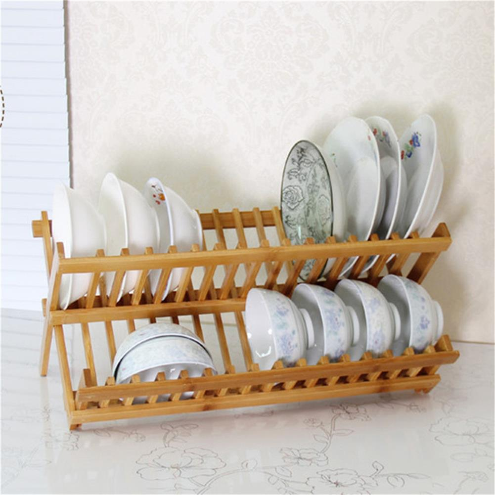 desktop-off-surface-shelves 16 Grid Folding Dish Rack Double Layers Bamboo Drainer Drying Rack Home Kitchen Storage Organizer Supplies HOB1779524 2 1