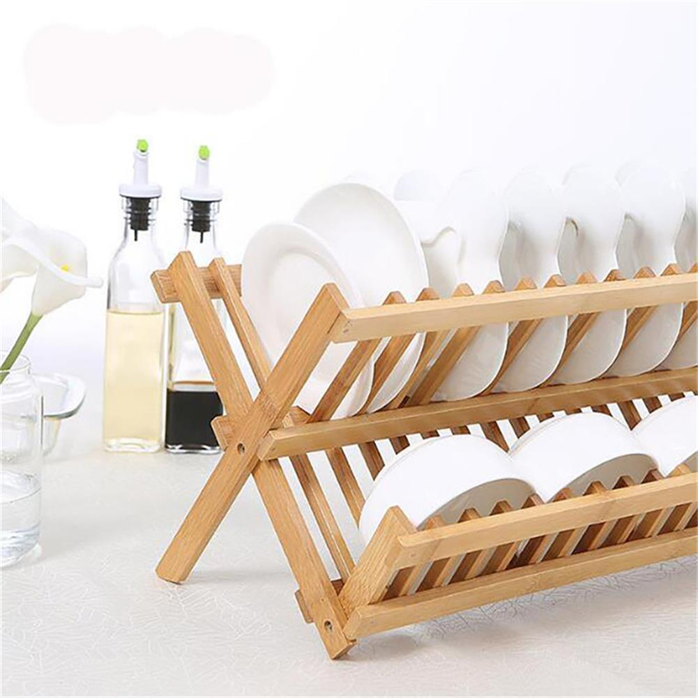 desktop-off-surface-shelves 16 Grid Folding Dish Rack Double Layers Bamboo Drainer Drying Rack Home Kitchen Storage Organizer Supplies HOB1779524 3 1