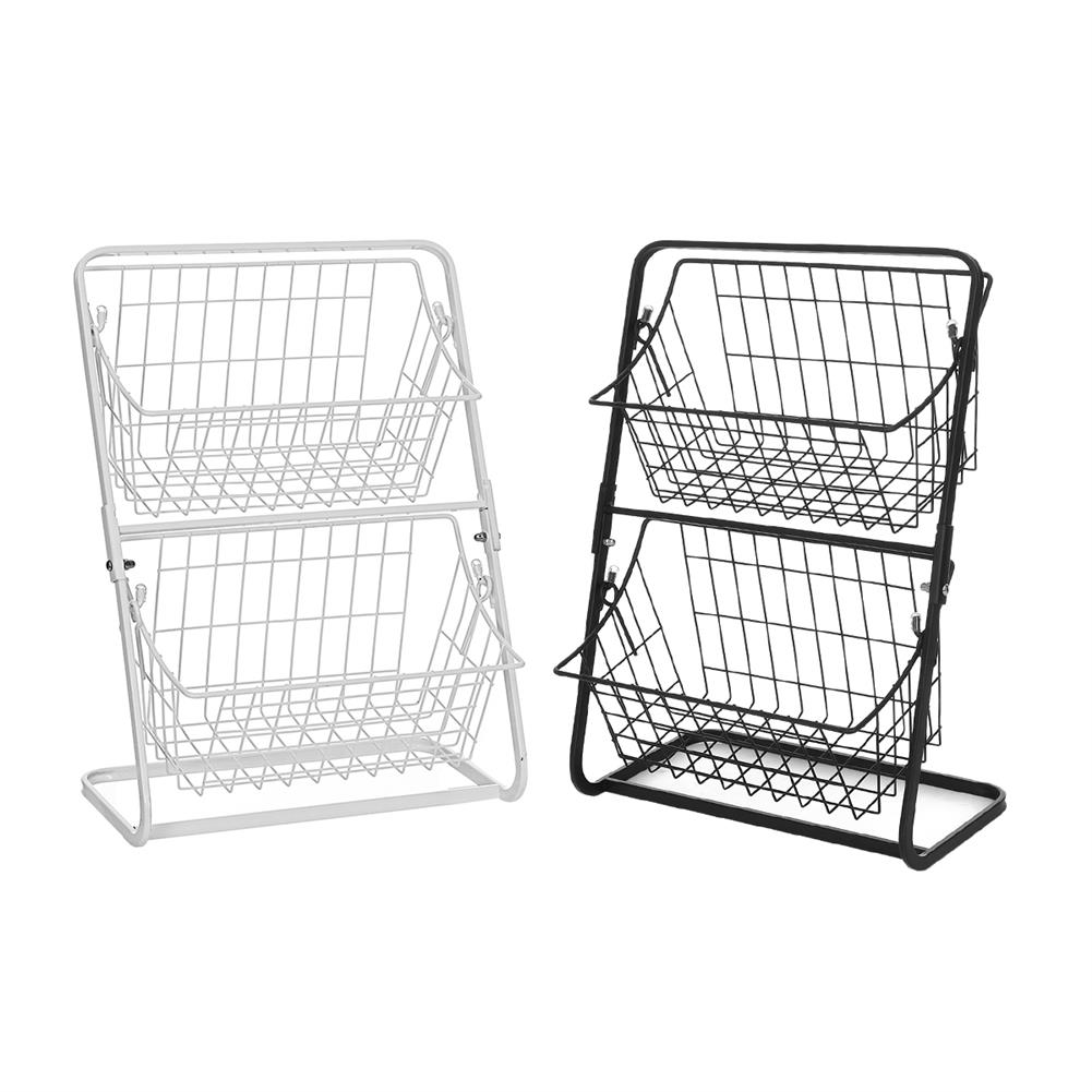 desktop-off-surface-shelves Double Layers Wire Market Basket Stand Storage Shelf Organizer for Fruit Vegetables Toiletries Household Bedroom HOB1779530 1