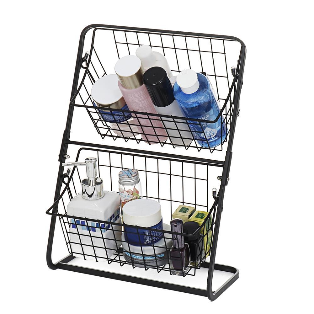 desktop-off-surface-shelves Double Layers Wire Market Basket Stand Storage Shelf Organizer for Fruit Vegetables Toiletries Household Bedroom HOB1779530 1 1