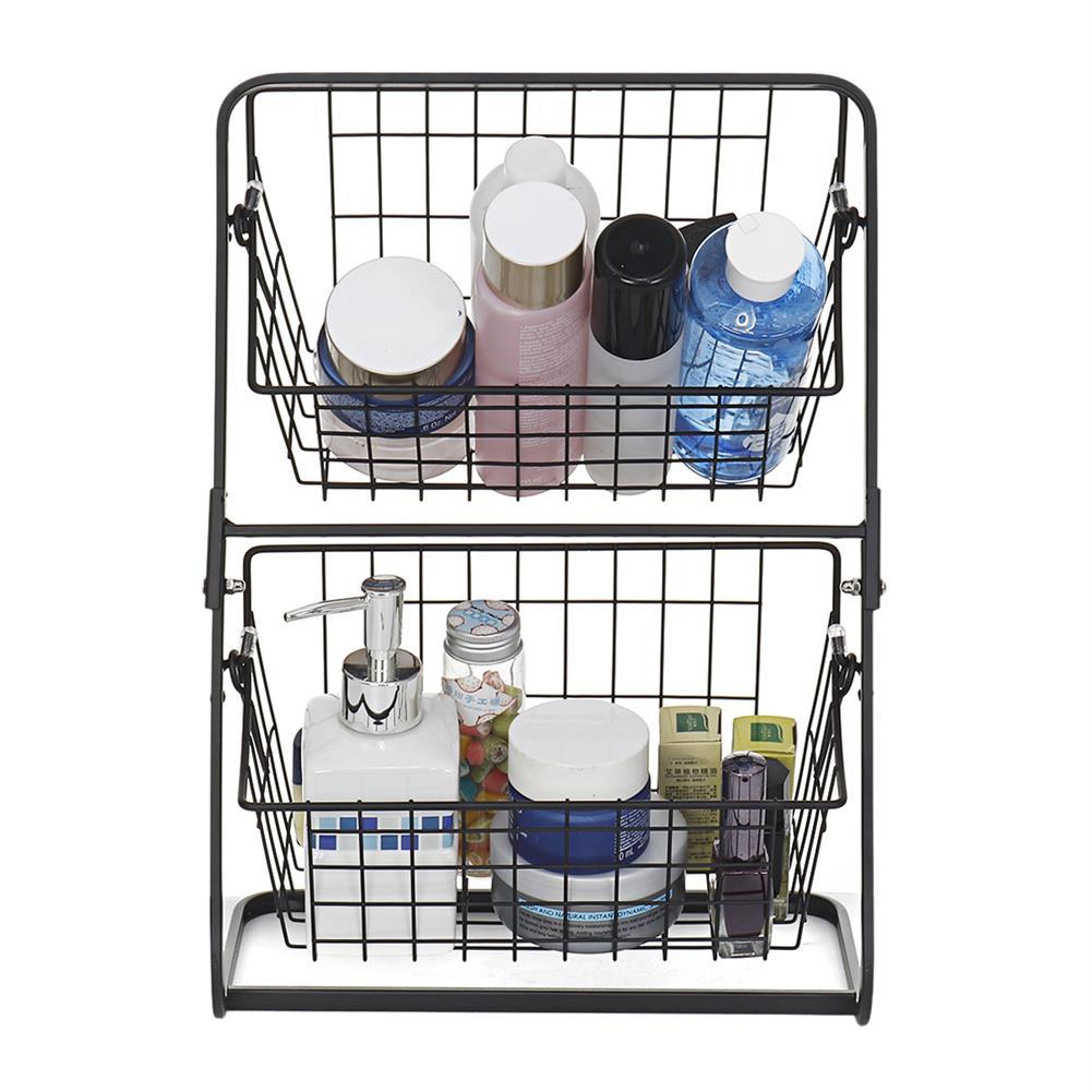 desktop-off-surface-shelves Double Layers Wire Market Basket Stand Storage Shelf Organizer for Fruit Vegetables Toiletries Household Bedroom HOB1779530 2 1