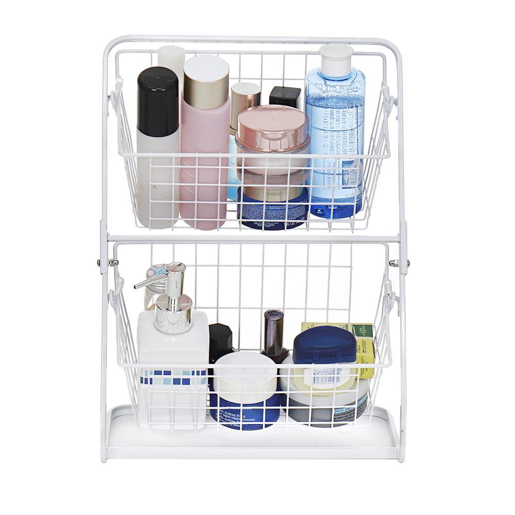 desktop-off-surface-shelves Double Layers Wire Market Basket Stand Storage Shelf Organizer for Fruit Vegetables Toiletries Household Bedroom HOB1779530 3 1