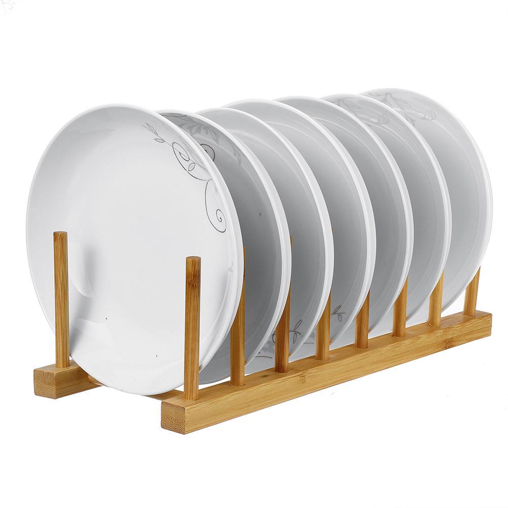 desktop-off-surface-shelves Multi Function Bamboo Dish Rack 3/5/6/8 Grid Drying Drainer Storage Kitchen Cabinet Organizer Accessories Display Shelf HOB1779551 1