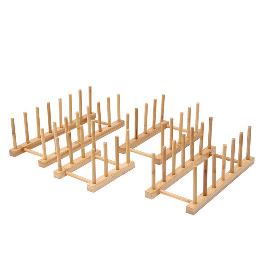 desktop-off-surface-shelves Multi Function Bamboo Dish Rack 3/5/6/8 Grid Drying Drainer Storage Kitchen Cabinet Organizer Accessories Display Shelf HOB1779551 2 1
