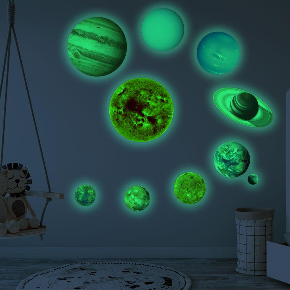 other-learning-office-supplies Solar System Luminous Stickers Nine Planets Self Adhesive Fluorescent Stickers for Kids Baby Bedroom Home Wall Decor HOB1779712 1