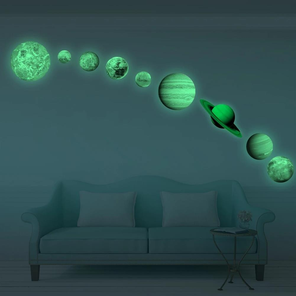 other-learning-office-supplies Solar System Luminous Stickers Nine Planets Self Adhesive Fluorescent Stickers for Kids Baby Bedroom Home Wall Decor HOB1779712 3 1