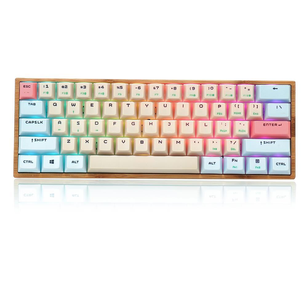 mechanical-gaming-keyboard Feker 61 Keys Bamboo Base Mechanical Keyboard USB Wired bluetooth 5.0 Dual Mode Gateron Switch RGB Backlit Gaming Keyboard HOB1780757 1