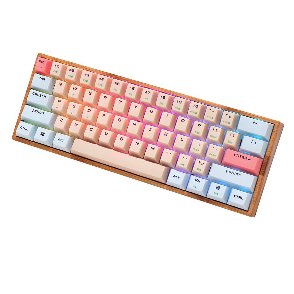 mechanical-gaming-keyboard Feker 61 Keys Bamboo Base Mechanical Keyboard USB Wired bluetooth 5.0 Dual Mode Gateron Switch RGB Backlit Gaming Keyboard HOB1780757 1 1