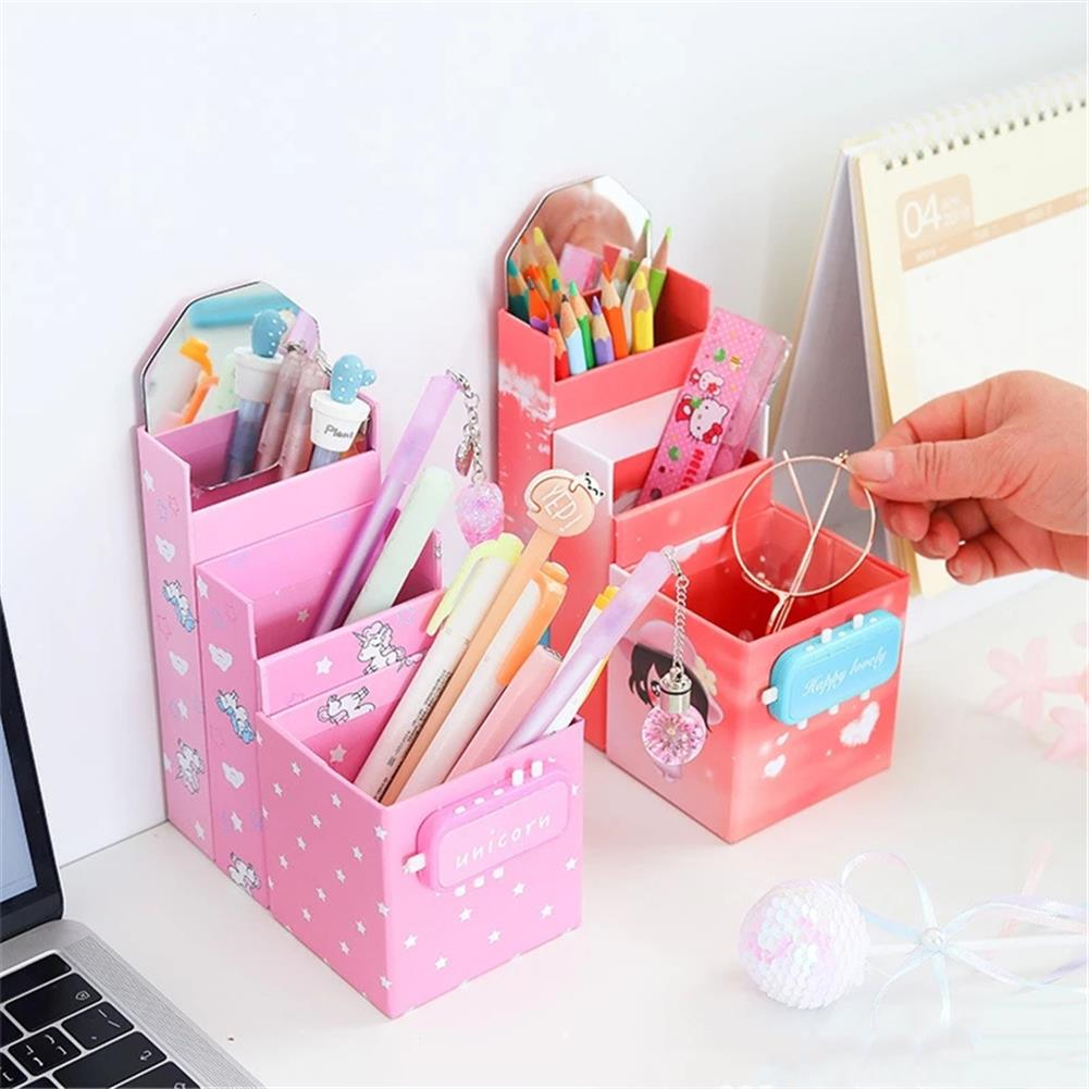 pen-holders, filing Folding Transformed Pen Holder with Mirror Changeable Password Lock Pencil Case office Desk Storage Stationery Box HOB1780882 3 1