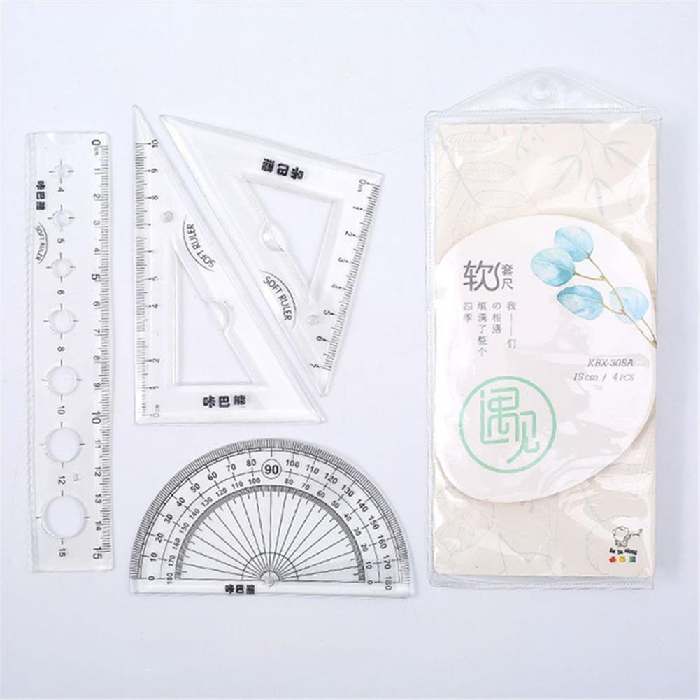 ruler 4pcs/set Flexible Ruler Set 20cm Soft Drafting Math Ruler Bendable Measuring Tool Environment-friendly Ruler Set for office School HOB1780883 2 1