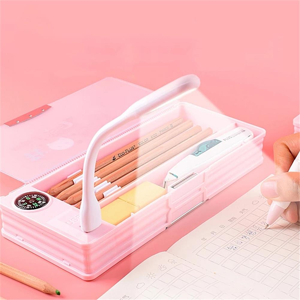 pencil-case Creative Pencil Case with Led Light USB Charging Mini Fan Pencil Box Multifunction Stationery School office Storage Supplies HOB1781113 3 1