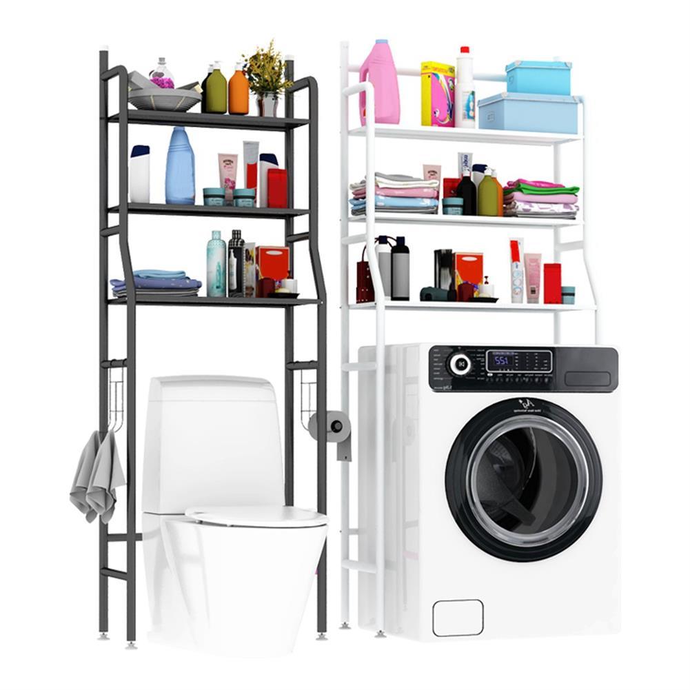 desktop-off-surface-shelves 3 Tiers Over Toilet Rack Over Washing Machine Rack Kitchen Bathroom Storage Shelf Space Saving Organizer Bath Towels Shampoo Shower Gel Holder HOB1781229 1