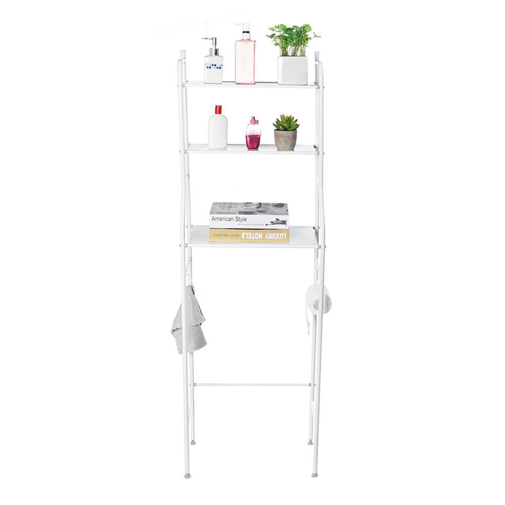 desktop-off-surface-shelves 3 Tiers Over Toilet Rack Over Washing Machine Rack Kitchen Bathroom Storage Shelf Space Saving Organizer Bath Towels Shampoo Shower Gel Holder HOB1781229 2 1