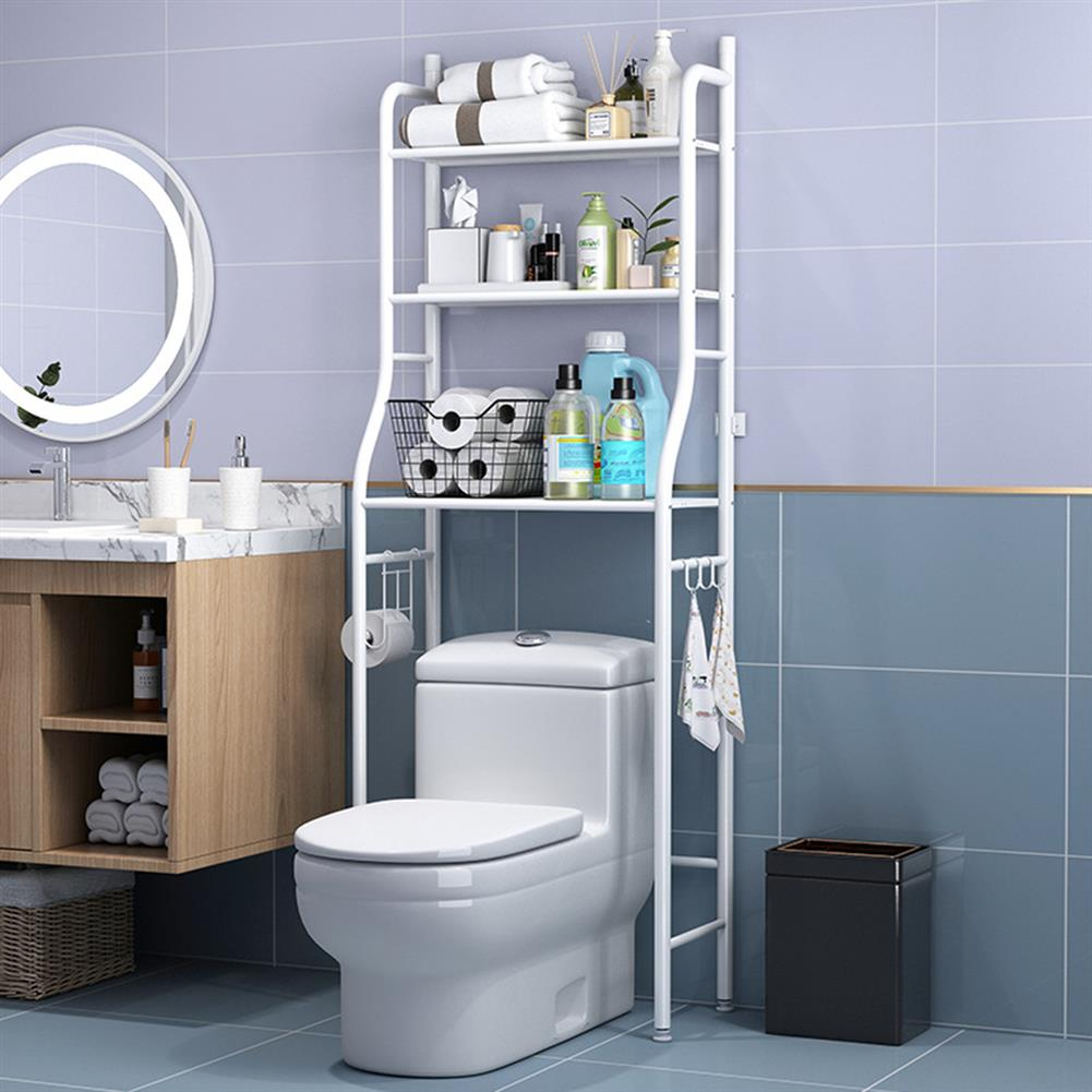 desktop-off-surface-shelves 3 Tiers Over Toilet Rack Over Washing Machine Rack Kitchen Bathroom Storage Shelf Space Saving Organizer Bath Towels Shampoo Shower Gel Holder HOB1781229 3 1