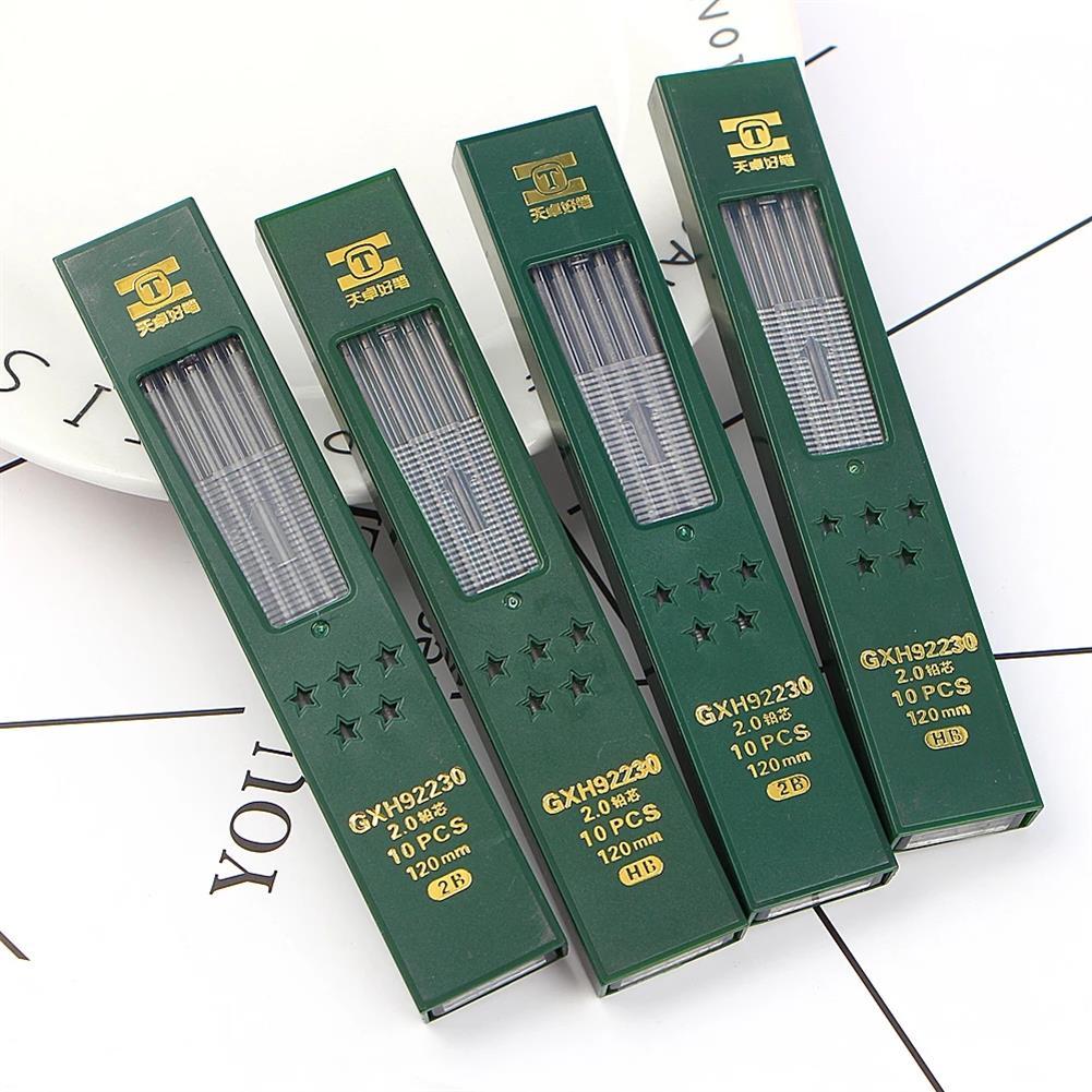 pencil TIZO GXH92230 2.0 2B/HB Graphite Lead 10pcs/box Automatic Pencil Replacement Core Mechanical Pencil Refill for School office Use HOB1781334 2 1