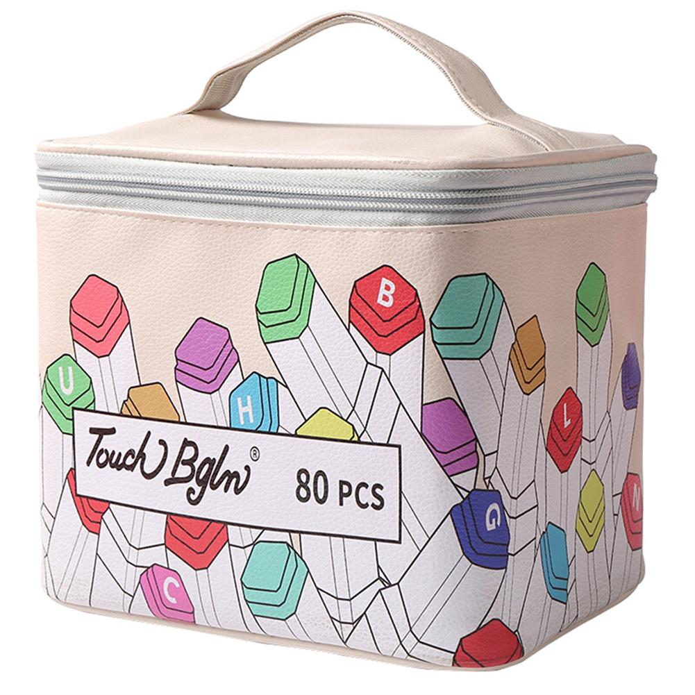 pencil-case 40/80/120/168 Colors Marker Pen Storage Bag Square Shape Large Capacity Leather Multifunction Color Storage Bag Pencil Case Supplies(Square Version) HOB1781916 1