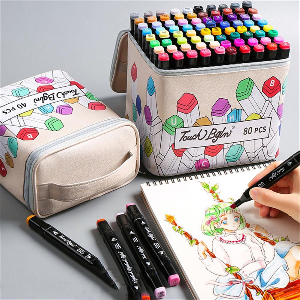 pencil-case 40/80/120/168 Colors Marker Pen Storage Bag Square Shape Large Capacity Leather Multifunction Color Storage Bag Pencil Case Supplies(Square Version) HOB1781916 2 1