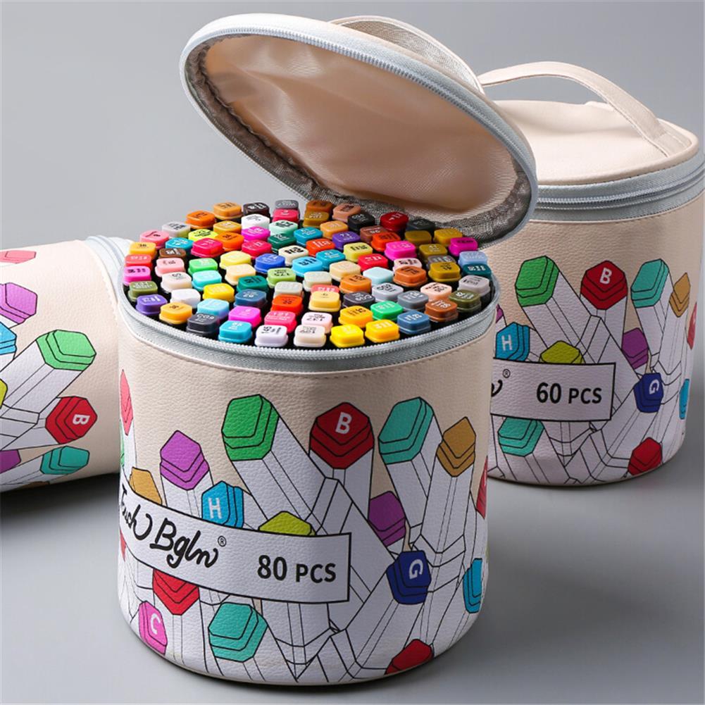 pencil-case 40/80/120/168 Colors Marker Pen Storage Bag Square Shape Large Capacity Leather Multifunction Color Storage Bag Pencil Case Supplies(Square Version) HOB1781916 3 1